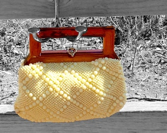 Bead Bag purse with Horn-rimed Handle