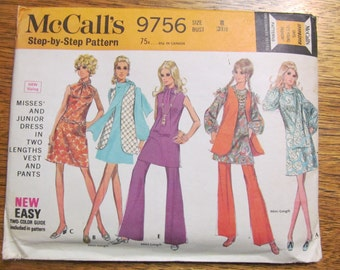 1960s HIPPIE Wardrobe - Mini Go Go A-Line Dress, Flared Vest, Scarf & Bell Bottom Pants - Size 8 - UNCUT Sewing Pattern McCalls 9756