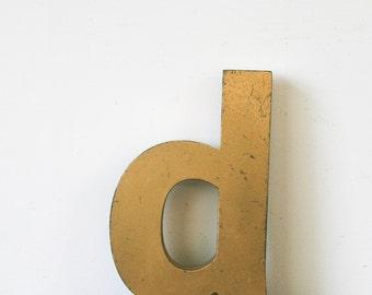 Vintage letter, lowercase d, genuine vintage