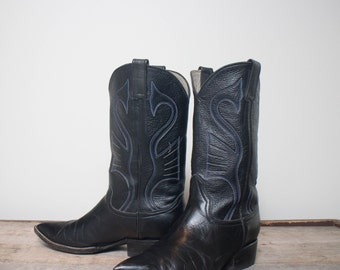 8 | Men's Pointed Toe Black Western Boots All Leather