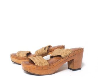 6 | Women's Vintage 1970's Platform Heeled Wood Sandals with Hemp Straps