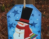 Whimsical snowman picture, snowman painting,primitive snowman, hand painted, winter decor, Christmas decor, Snowman decor, snowman collector