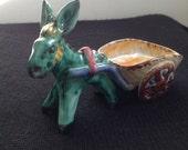 Vintage Italian Art Pottery Donkey Cart, Handmade Carretto. Vintage 1950.  Signed.  Made in Italy