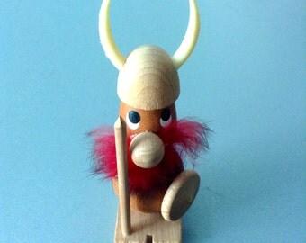 Wood Viking Figure. 1960's Vintage Modernist. Made in Denmark.  Mid century, Danish Modern, Eames era.