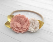Wool Felt Wlid Flower Headband or Hairclip- Vintage Pink and Off-White with Gold Leather- one size fits all nylon