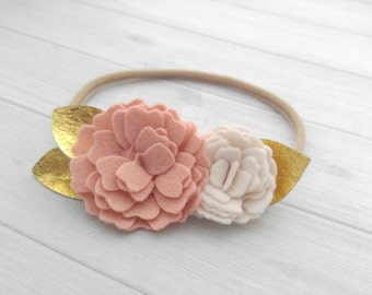 Wool Felt Wild Flower Headband or Hairclip- Vintage Pink and Off-White with Gold Leather- one size fits all nylon headband- baby headbands