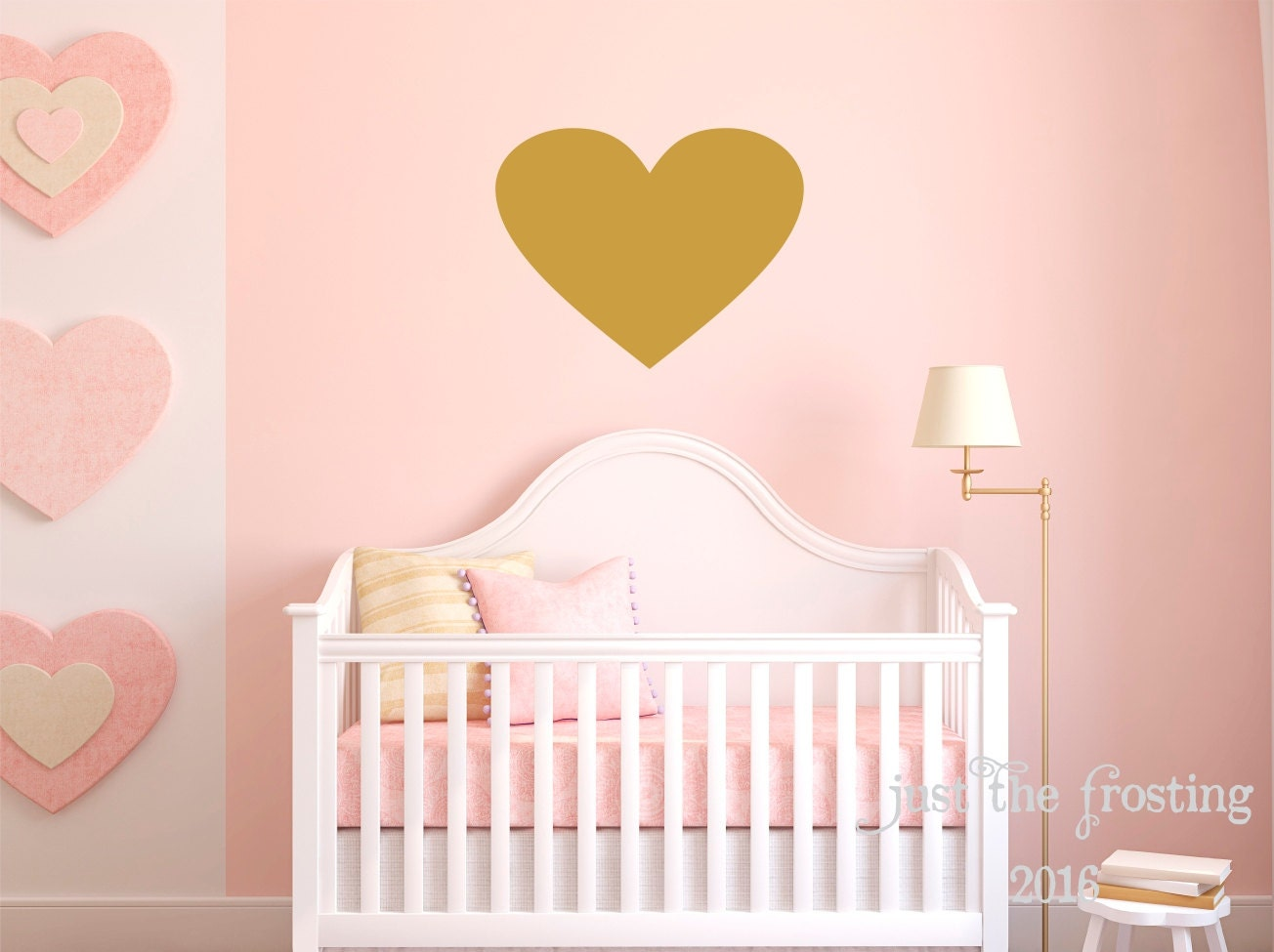 Gold heart wall decal large heart decal gold decor heart for Cute gold heart wall decals