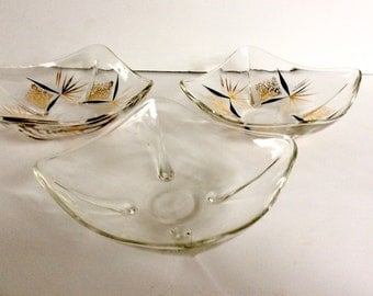 Vintage Modern Square Serving Dish Set / Mod Serving Dishes / Gold and Black Painted Relish Dishes