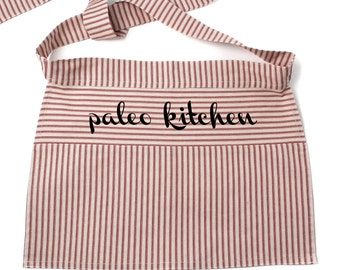 Paleo Kitchen Half Apron, Red or Green Striped