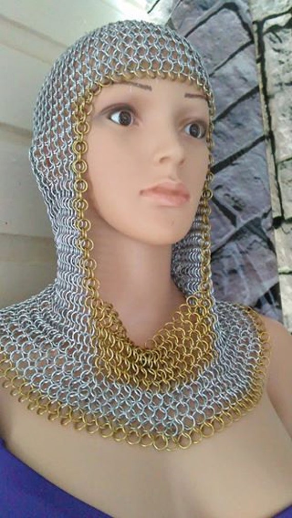 Custom Chainmail Closed full Coif with color Trim