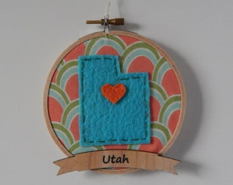 "4"" Utah Embroidery Hoop Ornament"