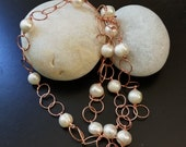 STATEMENT NECKLACE: Outstanding 10 mm White Baroque Freshwater Pearl, Rose Gold Large Link Chain necklace