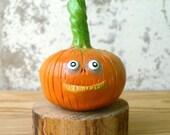 Halloween Pumpkin Sculpture - Polymer Clay Pumpkin Figurine - Spooky Pumpkin Decor - Fall Autumn Decor - Vegetable Decor - OOAK