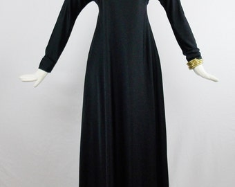 Vintage HALSTON MAXI HOSTESS Gown Abstract Collar and Pockets Fitted Sleeves Size