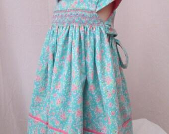 Girls Fine Craft Hand Smocked DRESS-Aqua Blue-Pink Flowers-Cap Sleeves-100% Cotton-Size 2
