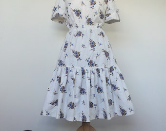 Shirt Swing Dress 70s does 50s Vintage 1950s Housewife UK 14 / 16 L XL US 12 / 14