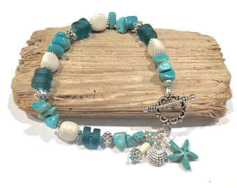 Teal Sea Glass Bracelet, Stone Bracelet, Beach Bracelet, Jewelry Gift, Gifts for Her Under 30, Beach Glass Bracelet, Turquoise Bracelet