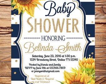 Sunflowers Baby Shower Invitation, Watercolor Baby shower sunflowers invitation, Navy white stripes, sunflowers, glitter, navy, yellow, 1714