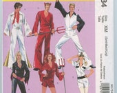 McCall's 5734 Men's Women's Disco Jumpsuit, Elvis, Devil, Naval Costume Pattern Size Sm Med Large UNCUT