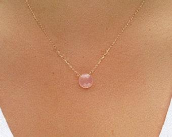 Rose Quartz Coin Necklace - Rose Quartz Jewelry - Rose Quartz Necklace