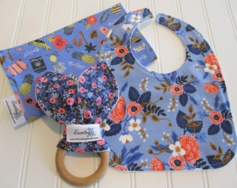 Newborn Gift Set/Infant Bib, Burp Cloth & Teether/Les Fleurs/Organic Fleece Back