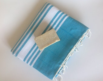 Turkish Towel home-garden / bath-beauty Peshtemal , Natural Soft Cotton Beach,Guest towel, aqua