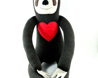 Sheldon the Sock Sloth - with felt heart (you choose what colour) - MADE TO ORDER