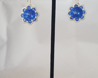 Sapphire and silver flower earring