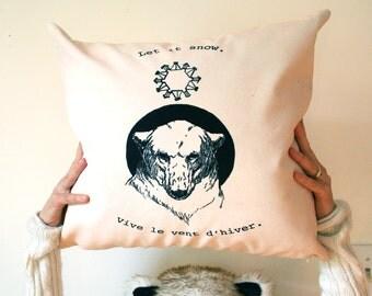 Velveteen cushion cover. Cream ombre pillow case. Rustic modern home decor. Polar bear art. Canadian decor. French quote gift. Ski decor