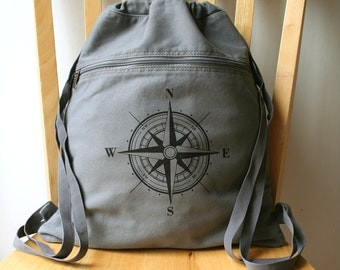 Nautical Compass Rose Canvas Backpack Gym Bag Book Bag