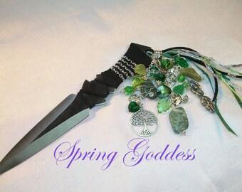 """Spring Goddess- 7.5"""" Embellished Athame -  Tree Agate, Emerald, Serpentine"""