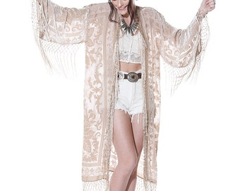 Moon Chaser Brocade Velvet Burnout Fringe Kimono - Beige