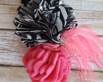 Zebra and Bubblegum Pink Feather Headband