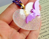 Bat Necklace - Charity, Animals, Kawaii, Statement, Heart, Lilac