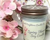 Spring Showers, 8 ounce,  Fresh and Floral Candle, Softest Blue, Bronze Daisy Lid, Cotton Wick