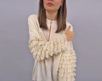 Vintage 80s Silk Blouse, Silk Ruffle Blouse, Avant-Garde 80s Blouse Δ size: sm / md