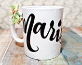 Bridesmaid gift, personalized mug, bridal party personalized mug gift