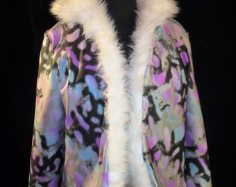 Reversible Bright White Faux Fur Hoodie Jacket Woman Size Sm/Med  Burning Man Costume One of a Kind