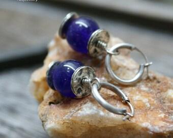 Amethyst Oxidized Sterling Silver  Hoop Dangle Earrings