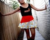 Asymmetrical Mini Skirt   Orange Floral Skirt   Short Skirt   Cute Retro Style   Elastic Waist