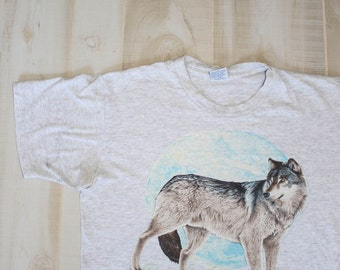 Vintage 80s Wolf T Shirt, 1980s Native American Indian Tee, Heather Gray, Moon, Southwestern