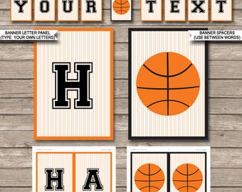 Basketball Party Banner - Happy Birthday Banner - Custom Banner - Party Decorations - Bunting - INSTANT DOWNLOAD with EDITABLE text