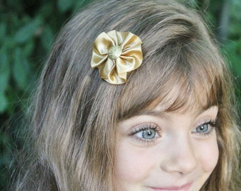 Gold Hair Bow - Shimmery Gold Christmas Hair Bow - Gold Flower Hair Clip