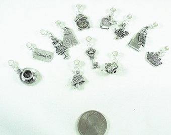 Alice in Wonderland Silver Plated Charm Mix with Bails, Lot of 12 Different Charms Jewelry Making Supplies
