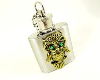 Flask,   Bronze Owl With Emerald Green Eye, Mini Key Chain Flask Stainless Steel 1 Ounce   Womens Gift  Handmade