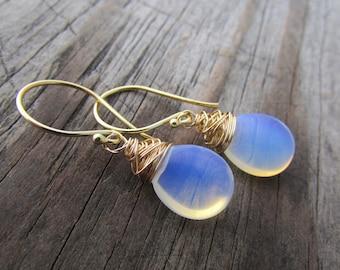 Opalite Earrings, smooth opalite drops, dangle earrings, gold earrings, simple