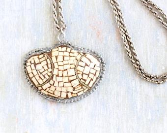 Bone Mosaic Necklace - Large Pendant on Long Chain - Vintage Boho Jewelry