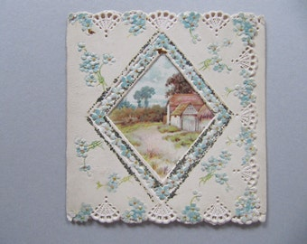 Victorian greeting card, antique Christmas card, early 1900's greeting cards, antique cards with cut outs and lace-like borders