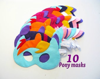 10 My Little Pony masks party pack Rainbow dash Pinkie pie Fluttershy Apple jack Twilight sparkle Rarity felt Dress up costume accessory