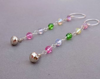 Long Multicolor Swarovski Crystal Earrings with Pyrite and Sterling Silver